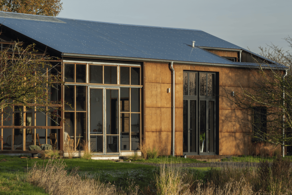 A sustainable three bedroom home dubbed Flat House boasts a flat-pack design using hemp materials grown on the 20-acre property