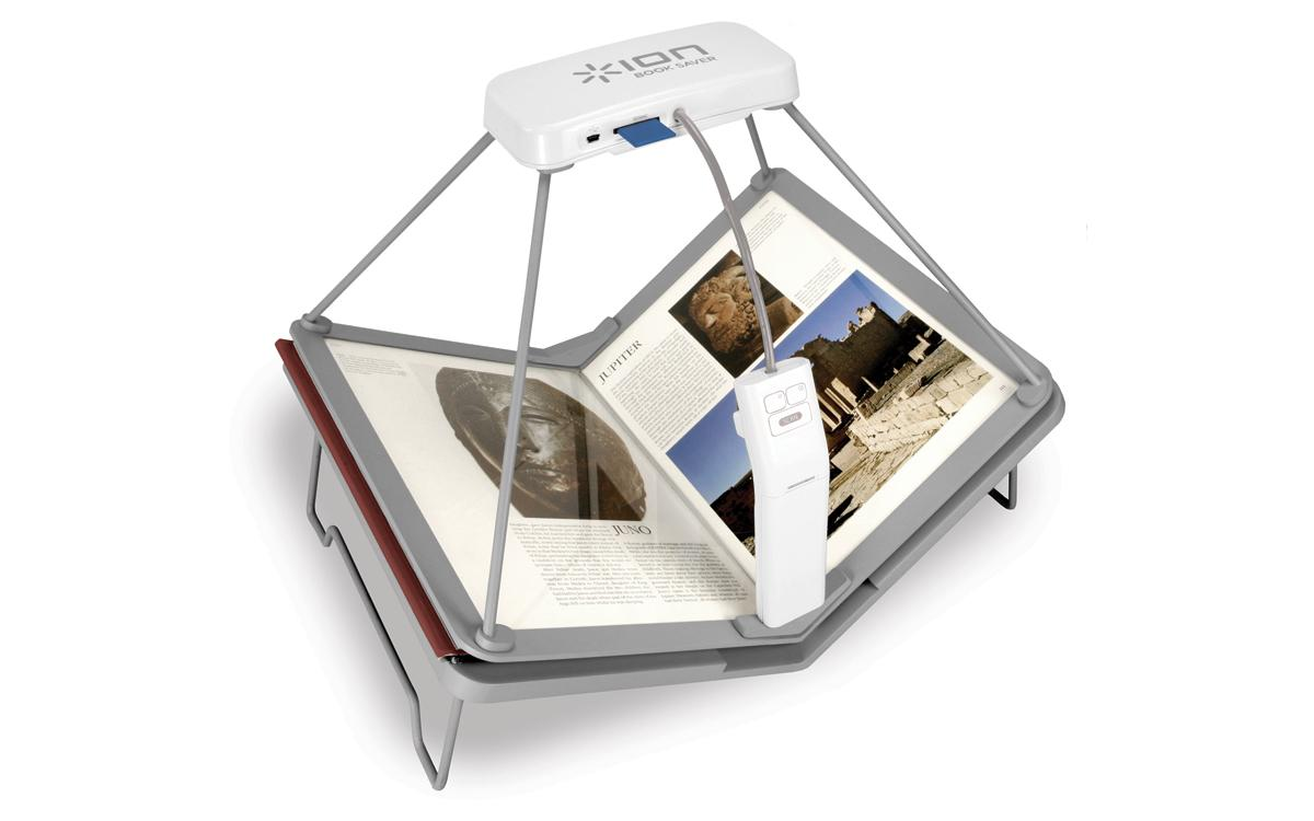 The Book Saver Book Scanner from Ion Audio can scan a 200-page paper book and convert it into e-Reader format in just 15 minutes