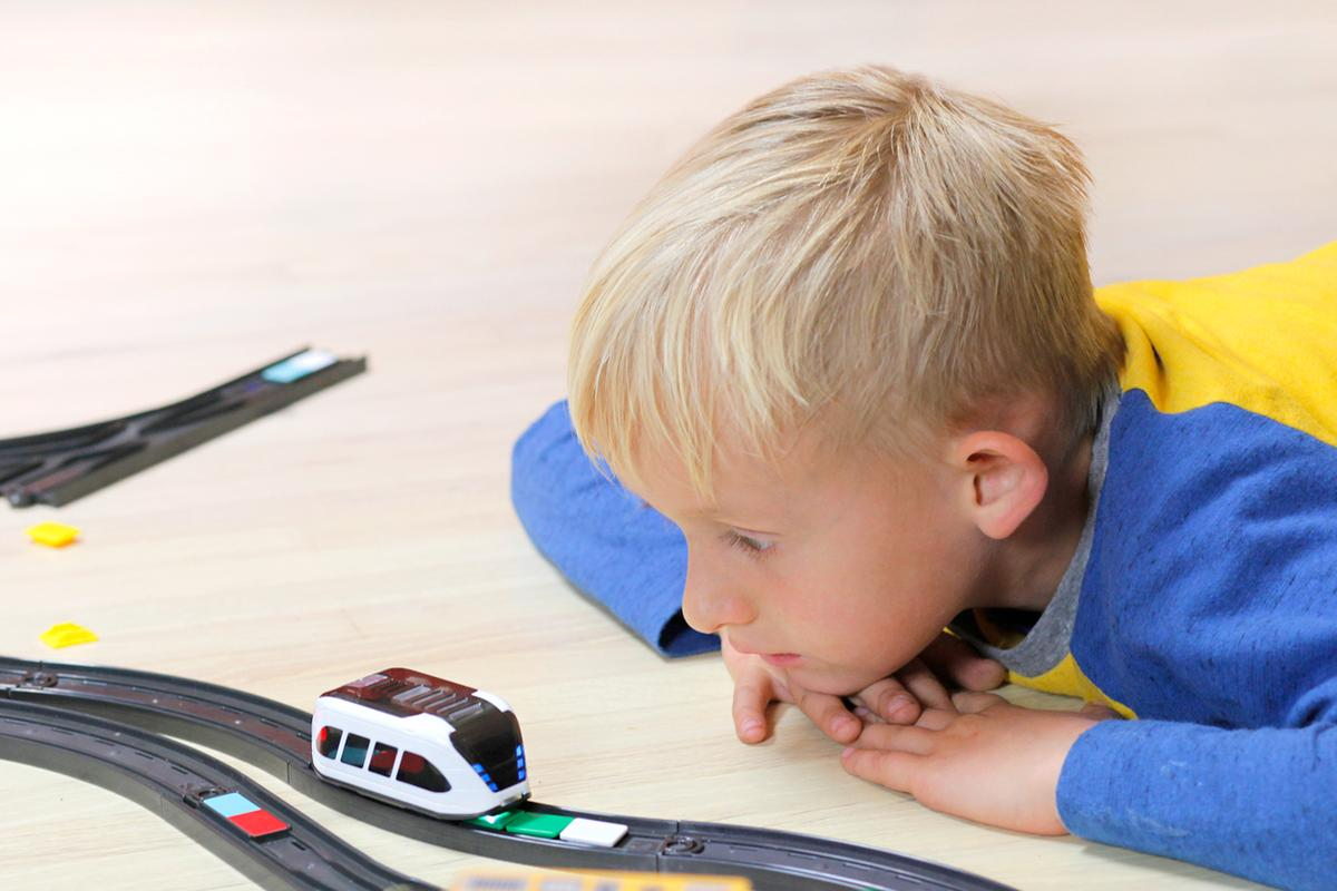 The intelino smart train can help youngsters to learn the basics of programming