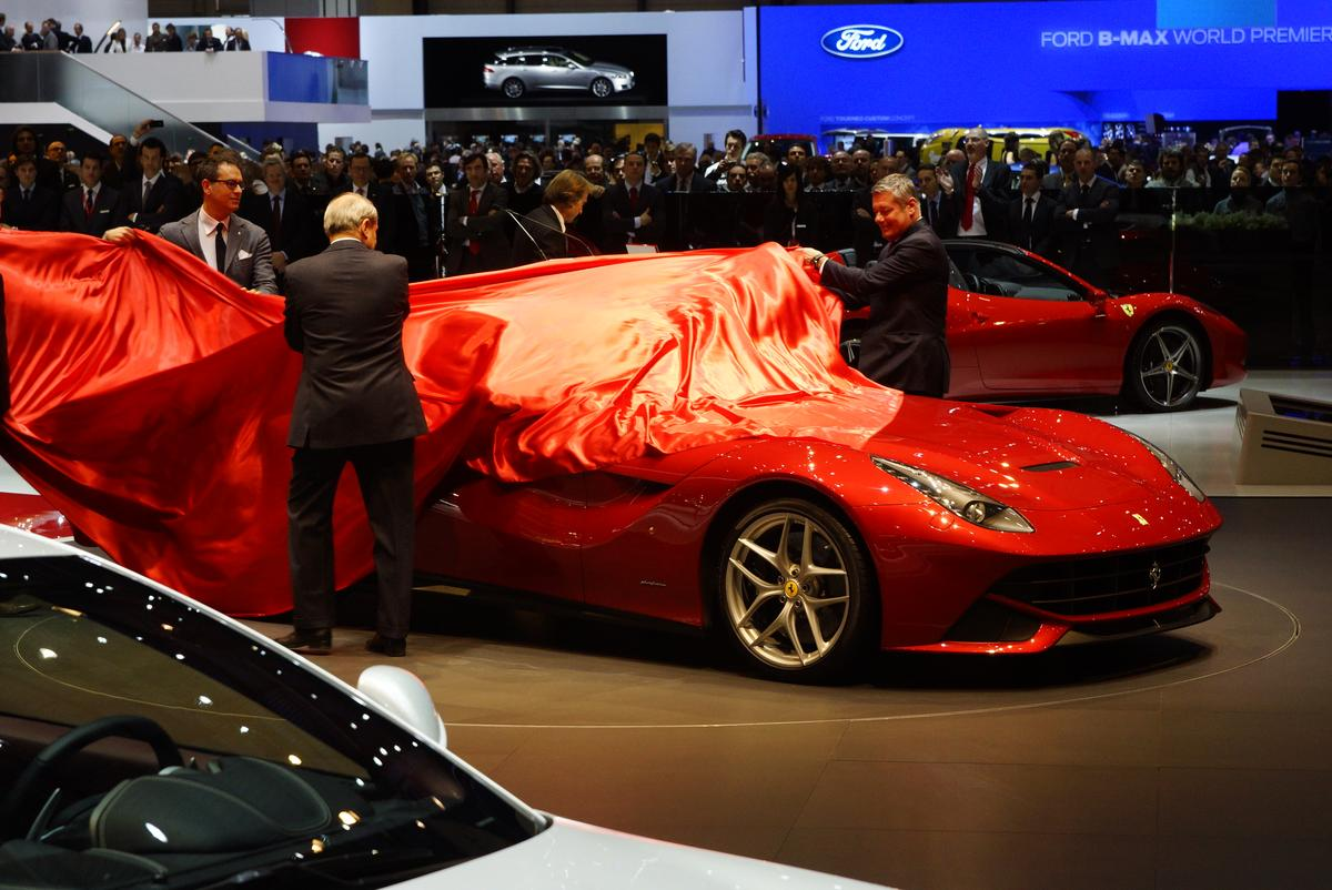 The unveiling of the Ferrari F12berlinetta at the Geneva Auto Show