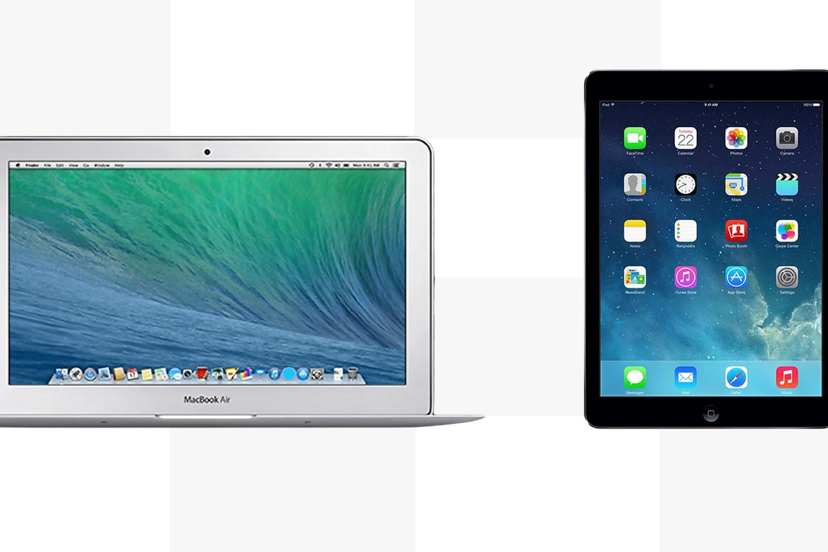 Gizmag compares the features and specs of the 11-in MacBook Air (early 2014) and iPad Air