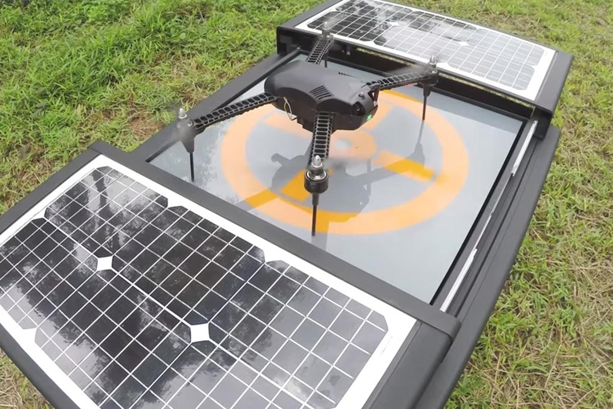 The Dronebox platform provides 24/7 autonomous capabilities to drones by supplying an automated recharging and storage station that can be left on site for many months at a time
