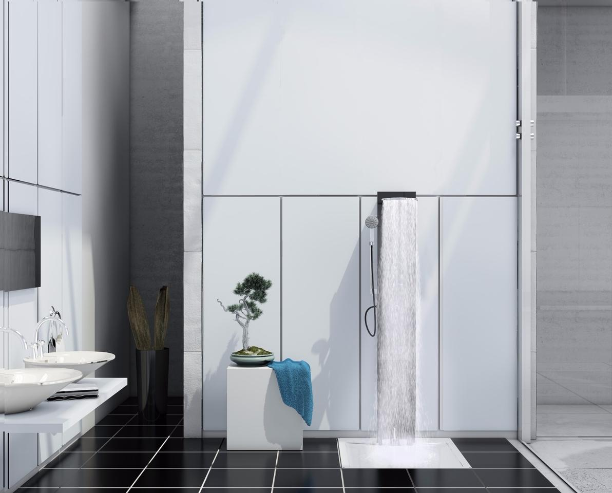 The e-Shower can be positioned against a wall or in a corner