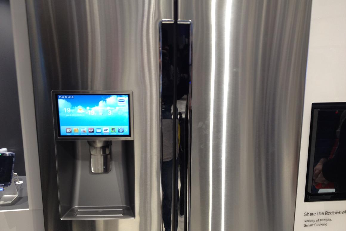 Samsung's T9000 four-door refrigerator previewed at CES 2013. The product is slated for a late spring launch