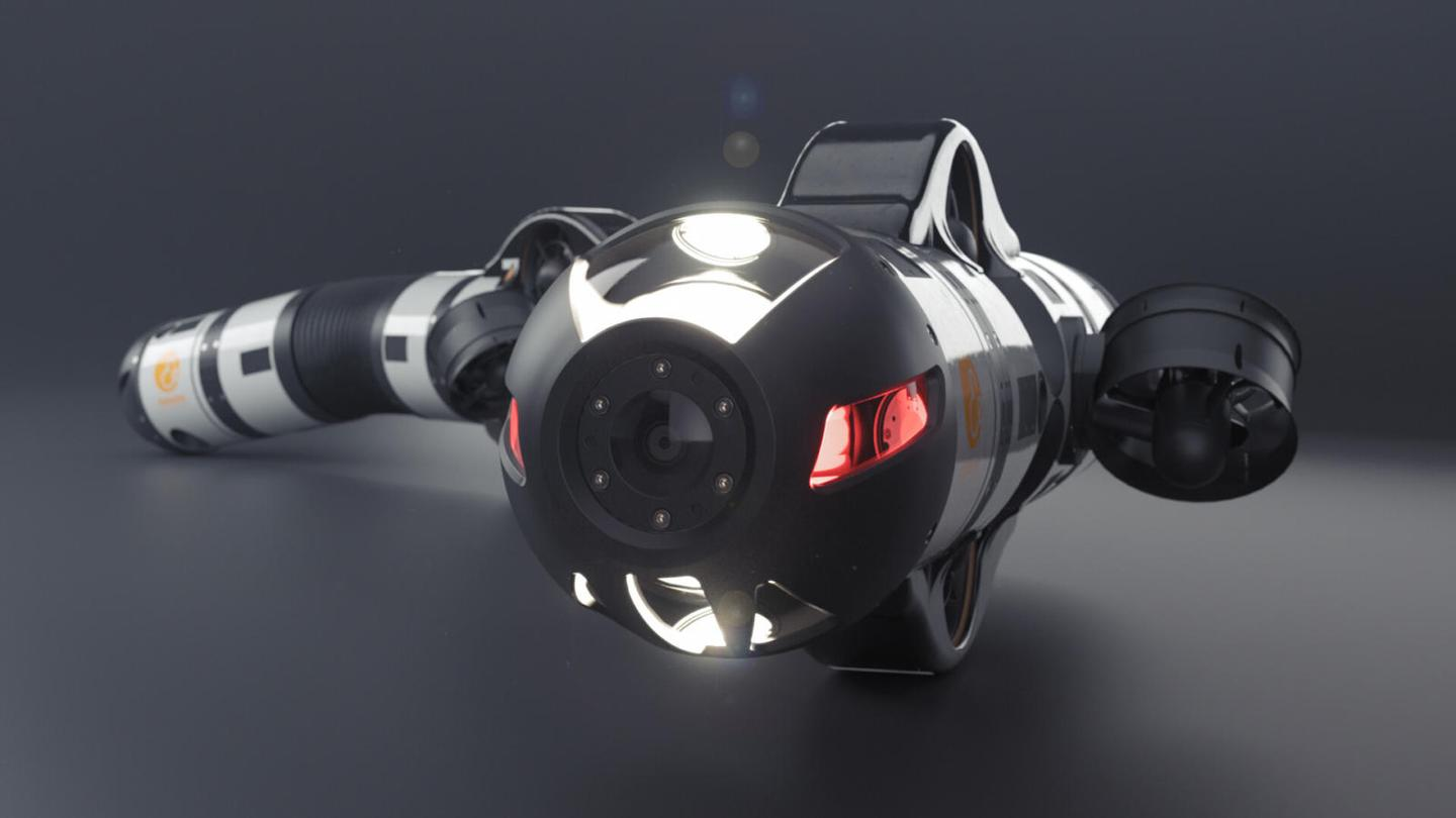 Like earlier versions, the EELY500 has a flexible segmented body that is propelled through the water by thrusters, and that's equipped with lights, a camera and interchangeable manipulator tools or sensors