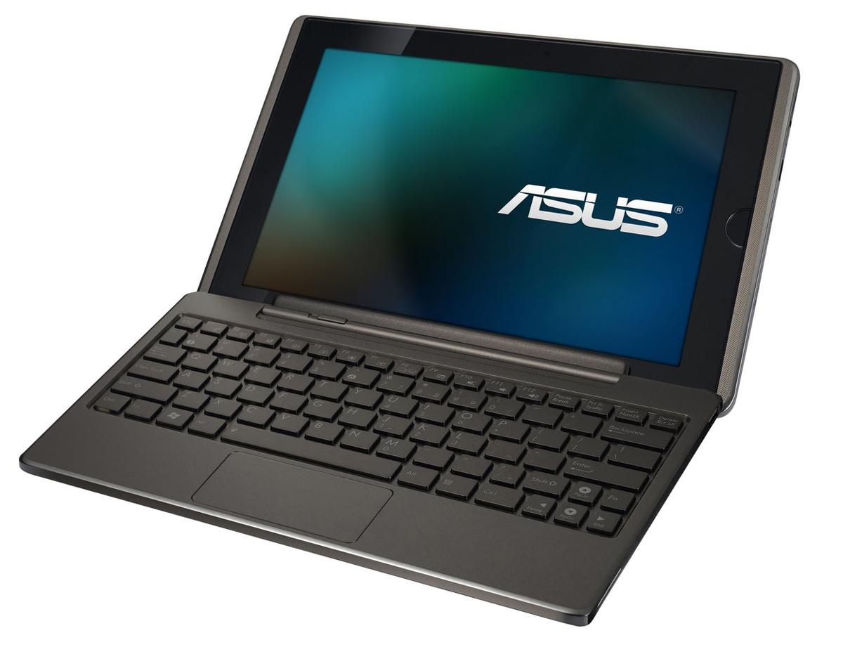 The ASUS Eee Pad Transformer atop the optional docking station that turns the tablet into a netbook