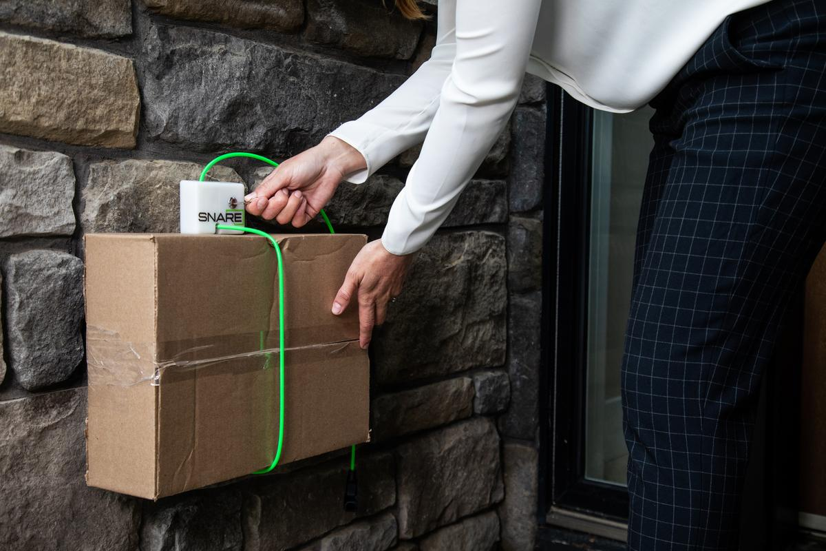 The Snare Parcel Protection system is presently on Kickstarter