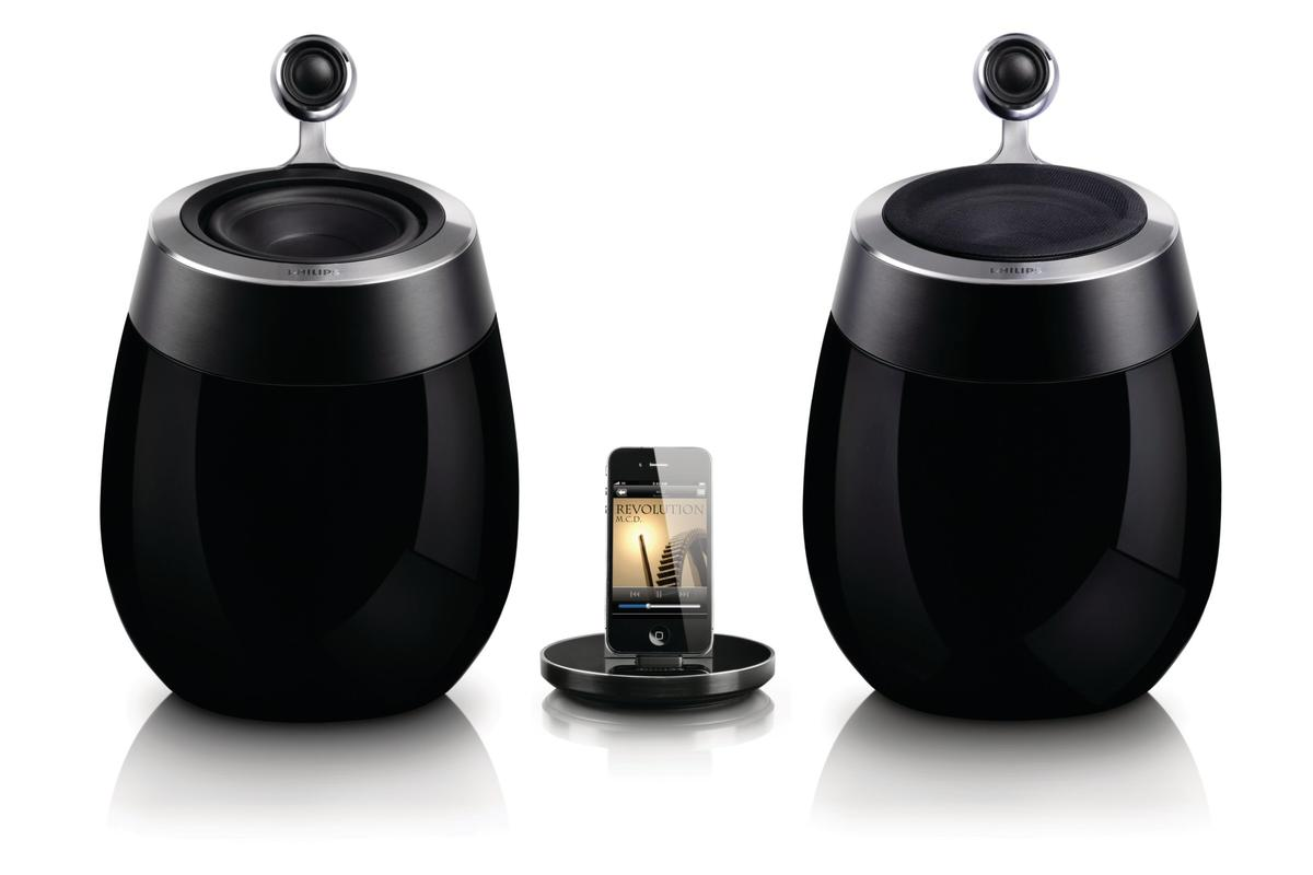 Philips has combined two of its most successful innovations into one gorgeous docking speaker system: the AirPlay-capable Philips Fidelio SoundSphere docking speakers