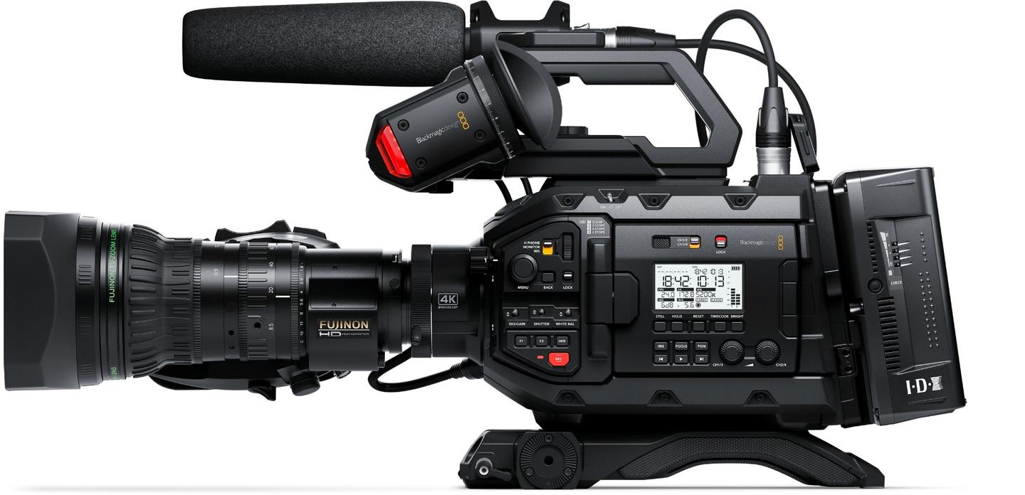 The Blackmagic URSA Broadcast camera is compatible with existing B4 HD or Ultra HD lenses via the included mount