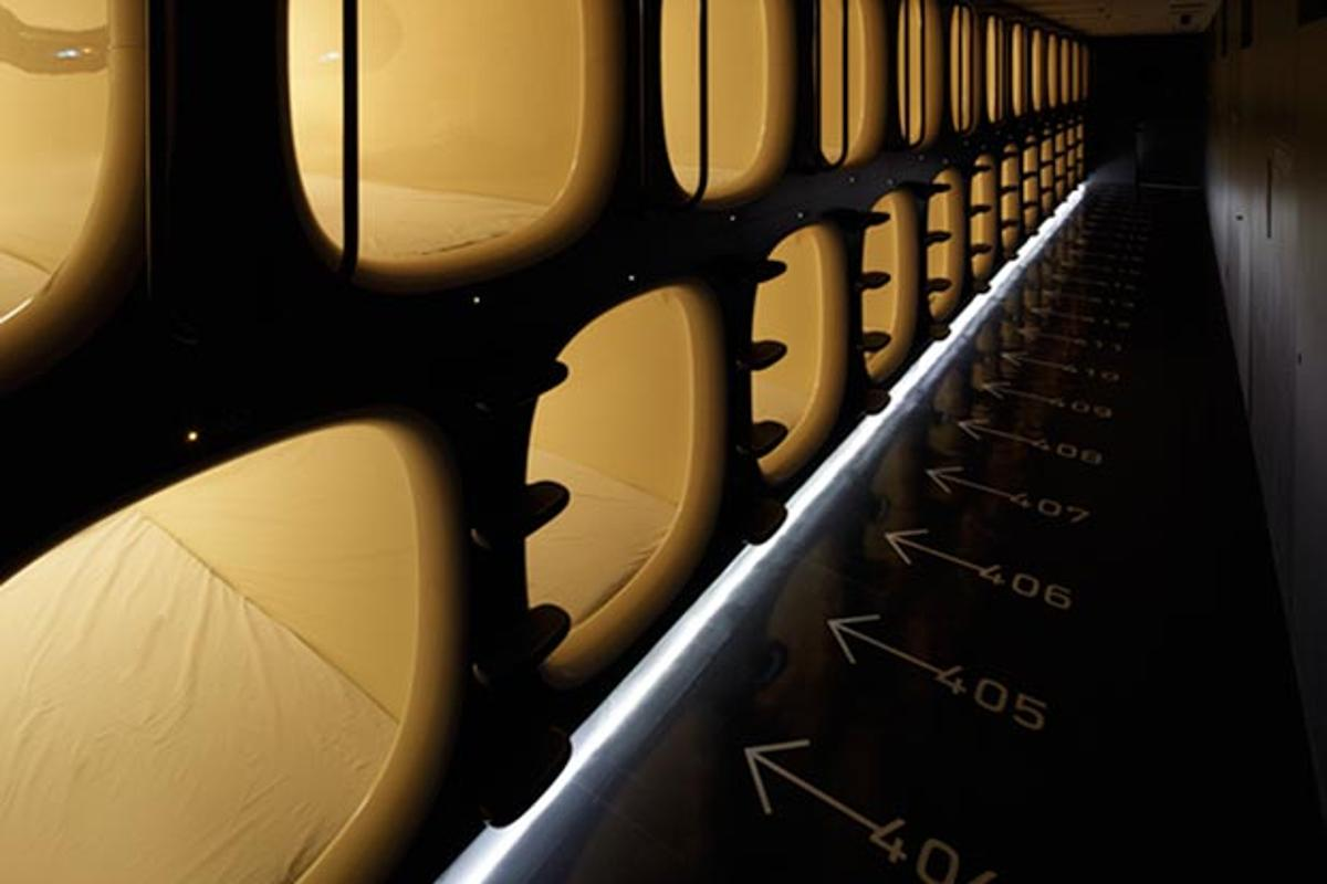 Hallway of capsules at 9h Capsule Hotel, Kyoto (image from 9h)