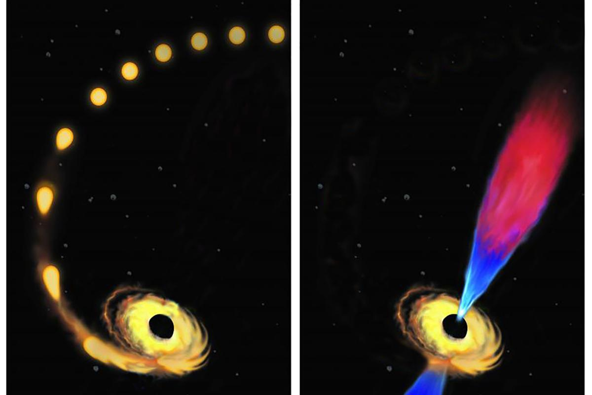 An artist's impression of a star being pulled in by the gravity of a black hole (left), and the resulting jet of plasma (right)