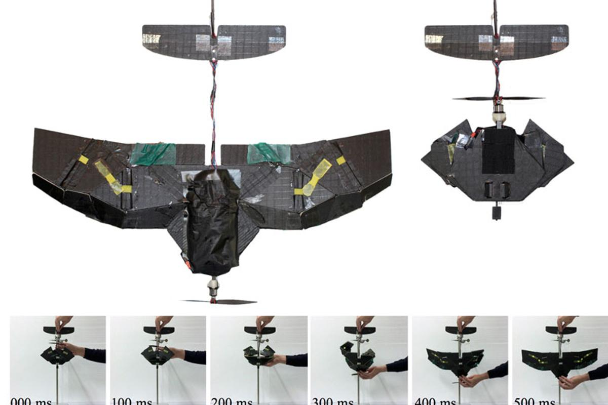 When folded up, the drone has only 43 percent of the wingspan and 26 percent of the surface area ofwhen it is in operational mode