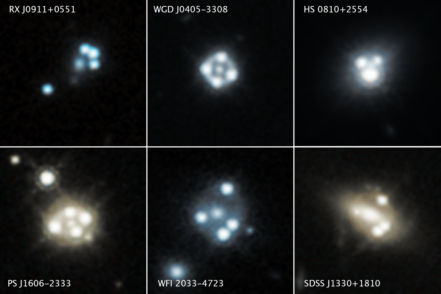 The quasars are all distorted through gravitational lensing, appearing as four spots of light