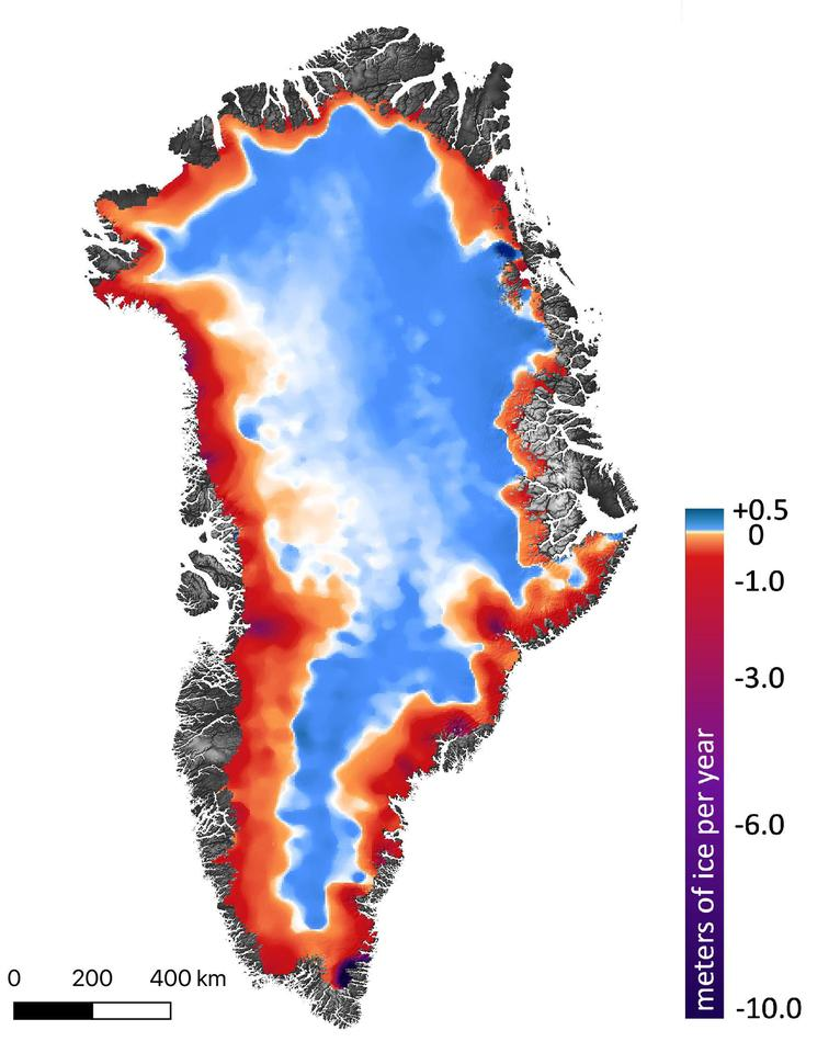 An image showing ice changes in Greenland between 2003 - 2019