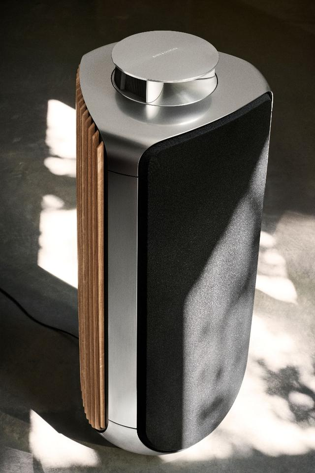 The BeoLab 50 active loudspeaker rocks a stunning combination of aluminum, oak and fabric