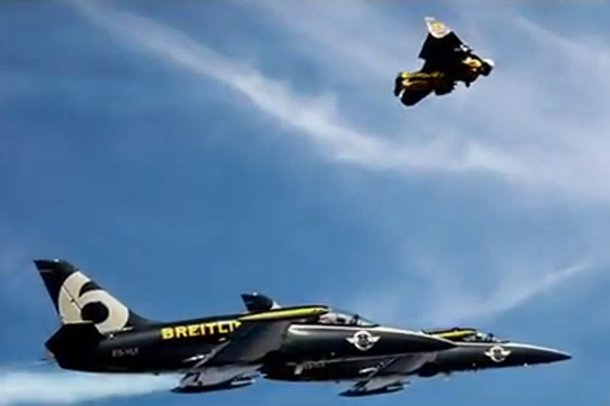 Jetman flying in formation with his bigger brothers
