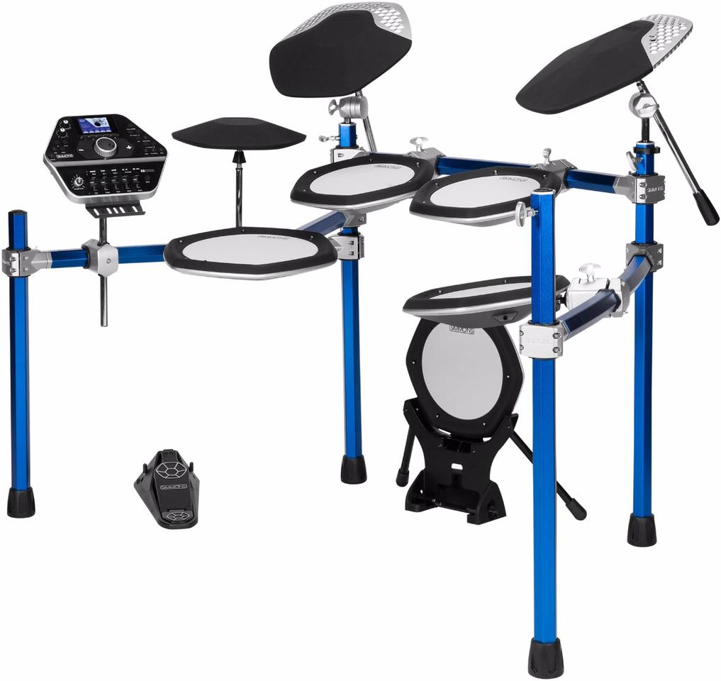 The sound module, mesh pads, cymbals and hi-hat all mount to an anodized aluminum Hexx frame