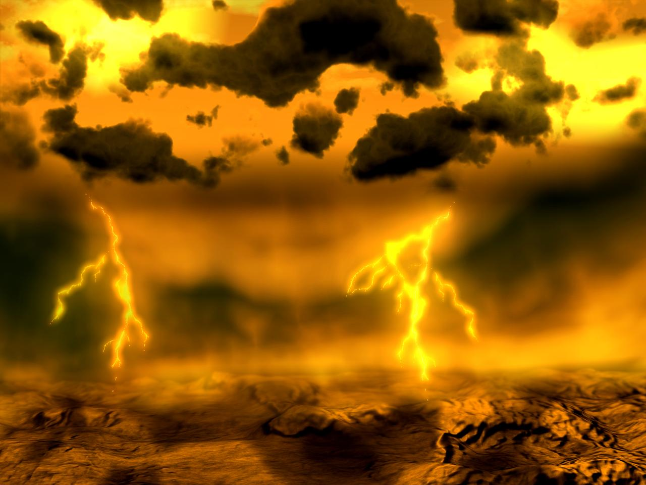 An artist's impression of an electrical storm on Venus (Image: ESA)