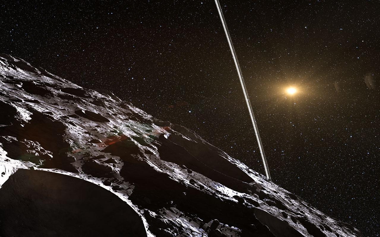An artist's impression of Chariklo's rings, from the planet's surface (Image: ESO/L. Calçada/M. Kornmesser/Nick Risinger)