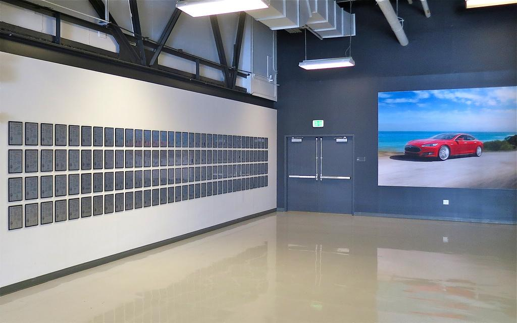 The now-gone wall of patents at Tesla's headquarters (Photo: Steve Jurvetson)