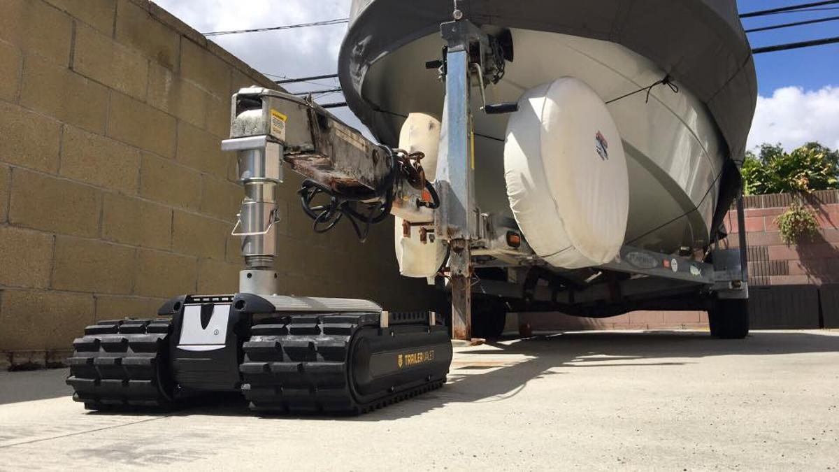The Trailer Valet RVR's heavy-duty caterpillar treads reportedly allow it to operate on a variety of surfaces