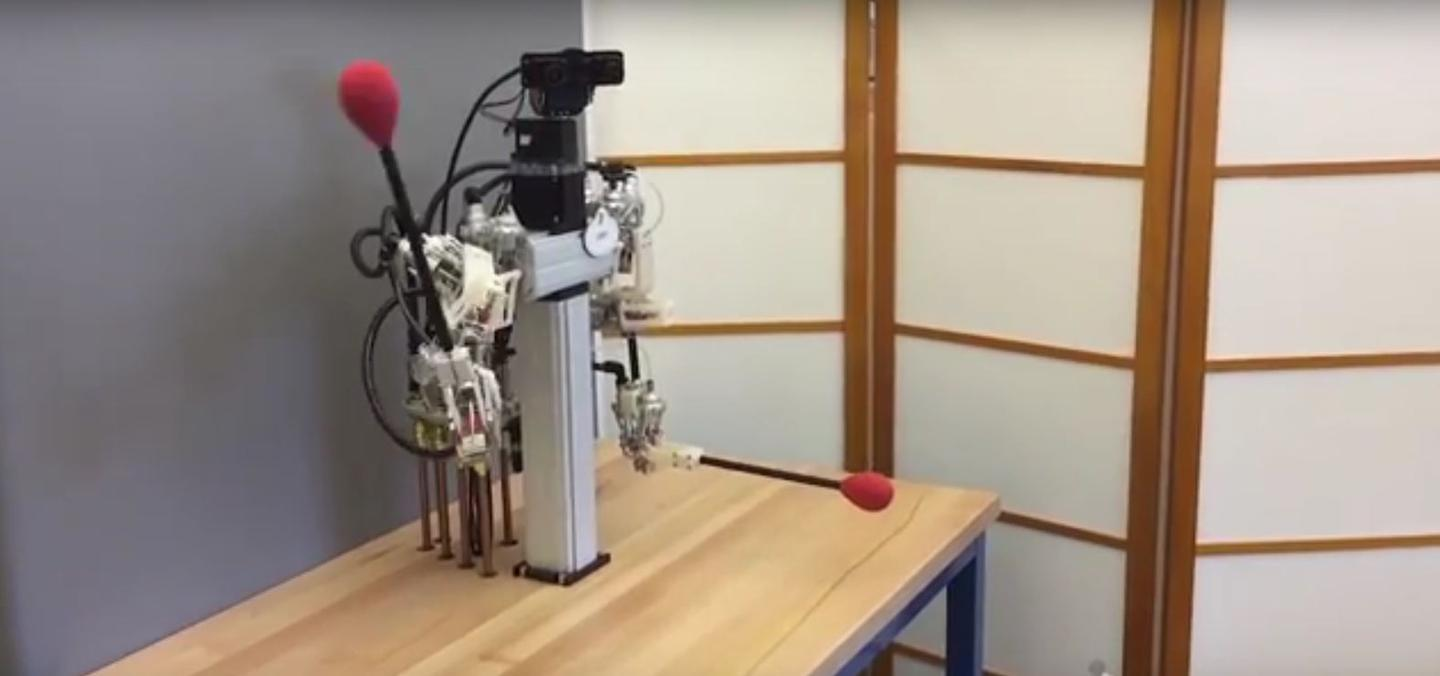 The hybrid robot is a humanoid torso