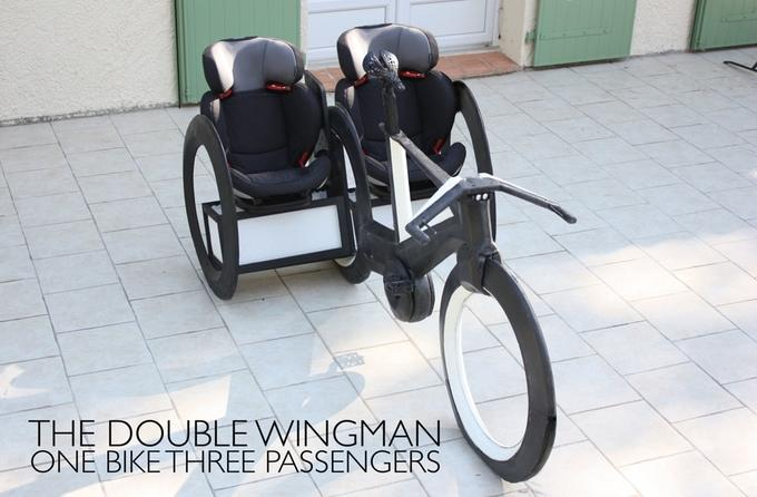 The lack of wheel spokes allows you to attach storage or seats to the bike