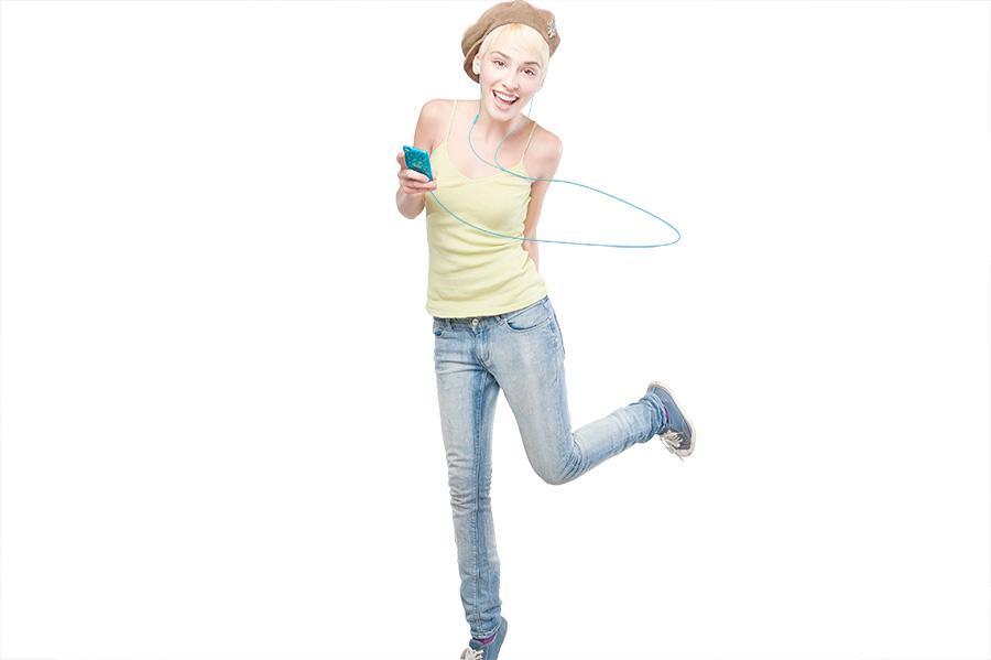 iSkin's earTone earphones - and girl