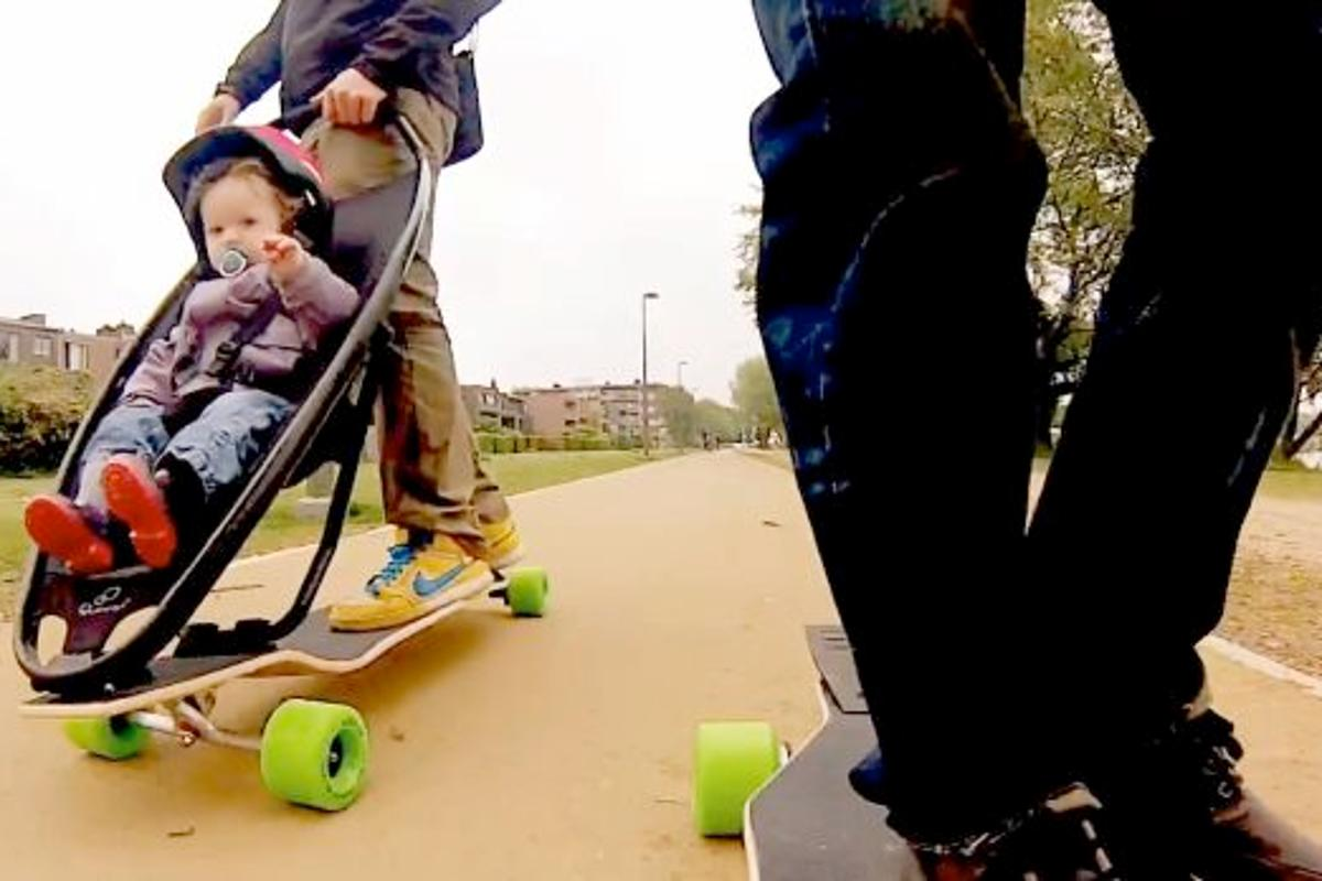 The Longboard Stroller in action