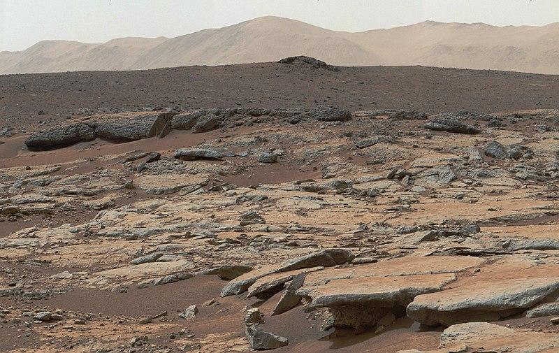 Sedimentary rocks in Mars' Gale Crater, which is thought to have once contained a lake