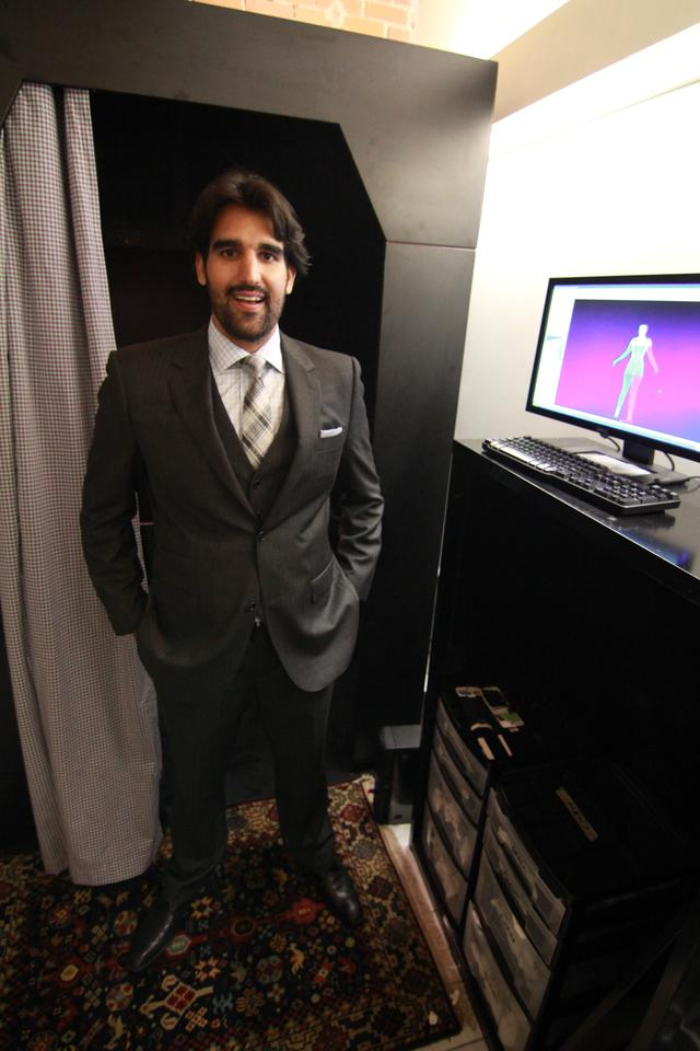 Fitted Fashion co-founder Jamal Motlagh, in front of a one of his company's 3D body scanners