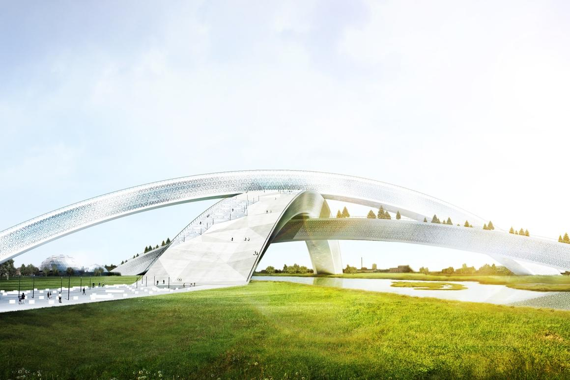 The snowflake design will house six indoor and two outdoor slopes in its three intersecting arches (Photo: CEBRA)