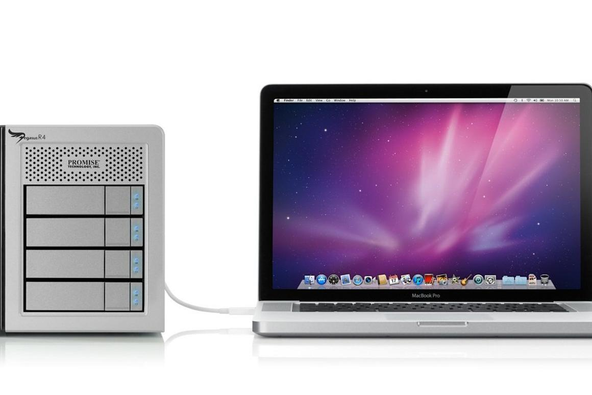 Four new Thunderbolt-equipped RAID storage solutions from Promise and a proprietary Thunderbolt cable have now appeared in the Apple Store