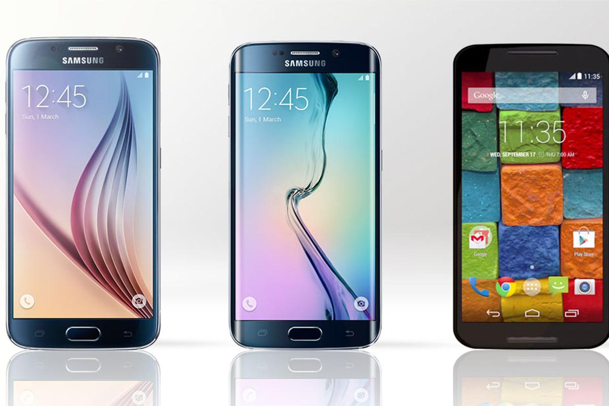 Gizmag compares the features and specs of the Samsung Galaxy S6 (left), Galaxy S6 edge (center) and 2nd-generation Moto X