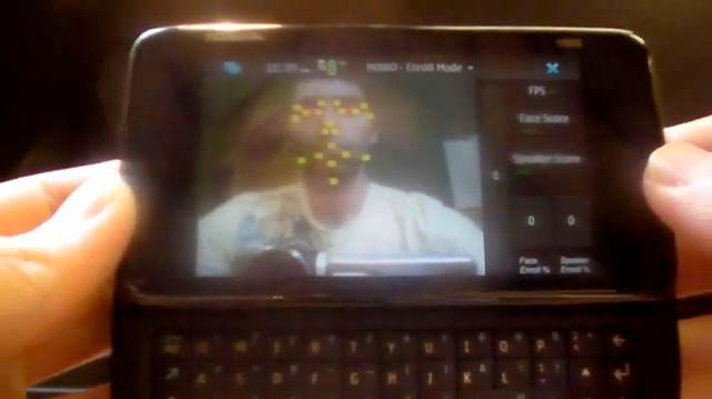 A mobile phone using the new facial tracking software