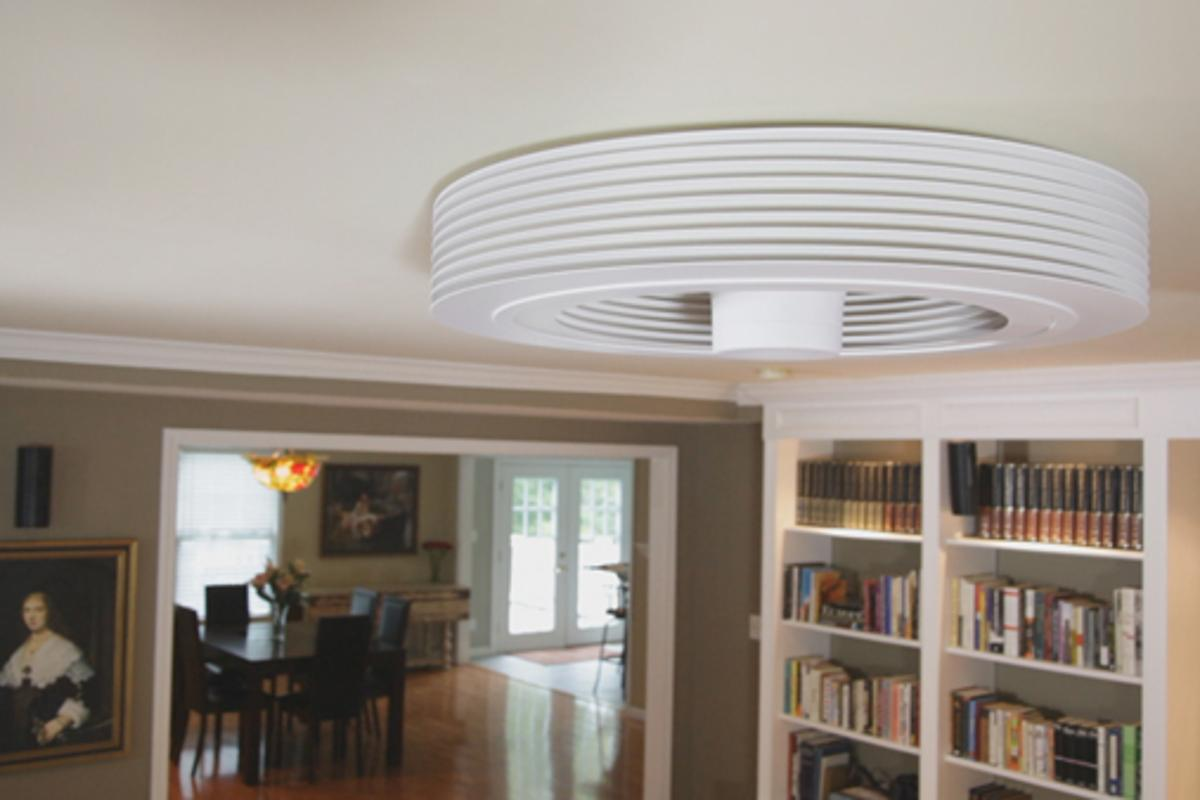 How the Exhale fan looks - very different than a traditional ceiling fan