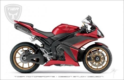 Tier Motorsports' R1 design study, with single sided front swingarm