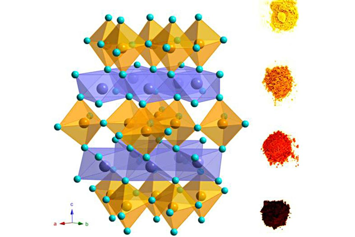 """This """"trigonal bipyramidal"""" crystalline structure that forms the basis of OSU's """"cool blue"""" pigment"""