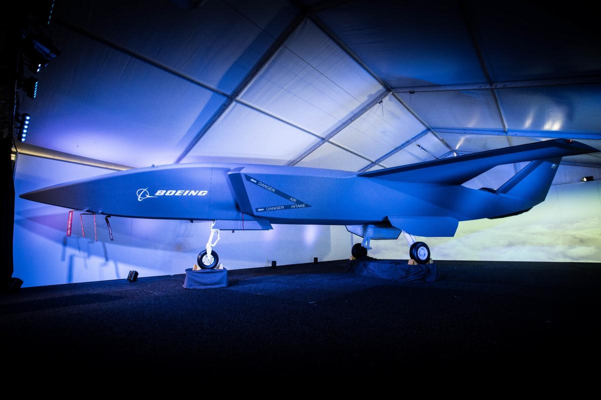 A model of the unmanned Boeing Airpower Teaming System was unveiled at the Australian International Airshow