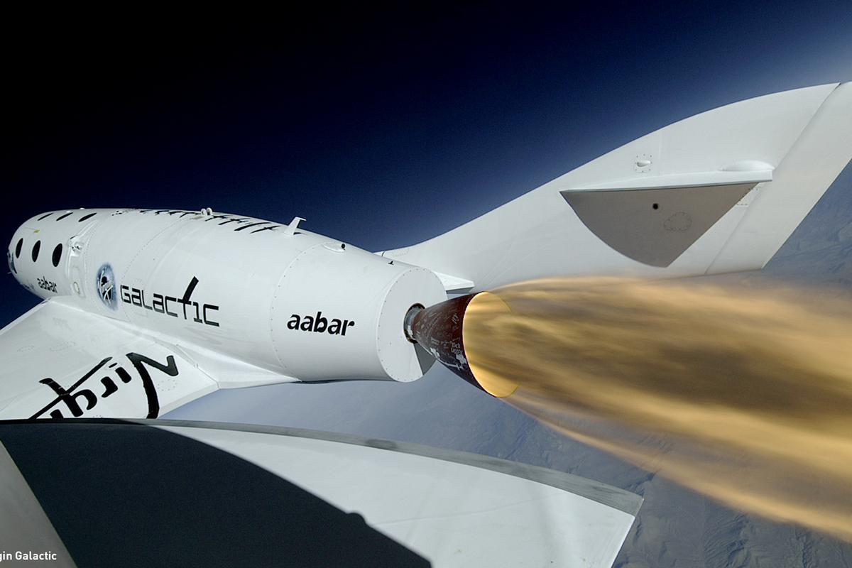 Virgin Galactic's SpaceShipTwo, shown here on a test flight, will be fueled by a thermoset plastic similar to nylon