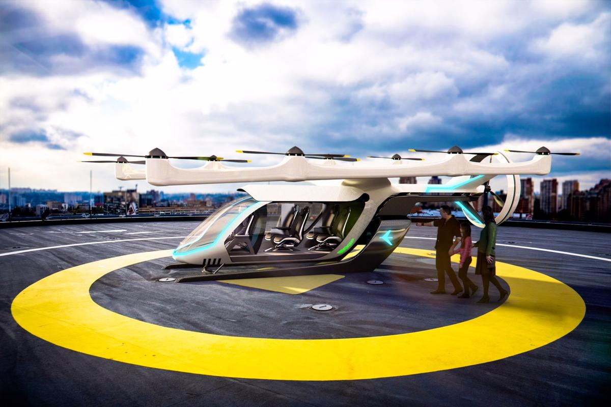 Uber imagines users of its flying taxi service traveling along fixed routes between hubs called Skyports