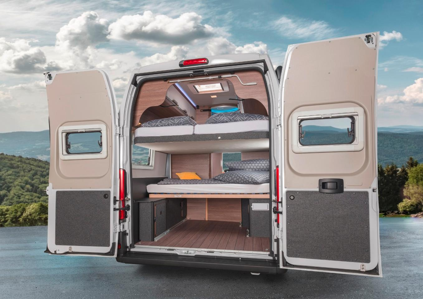 The Boxlife 630 ME's optional lower bed creates a four-sleeper rear cargo area