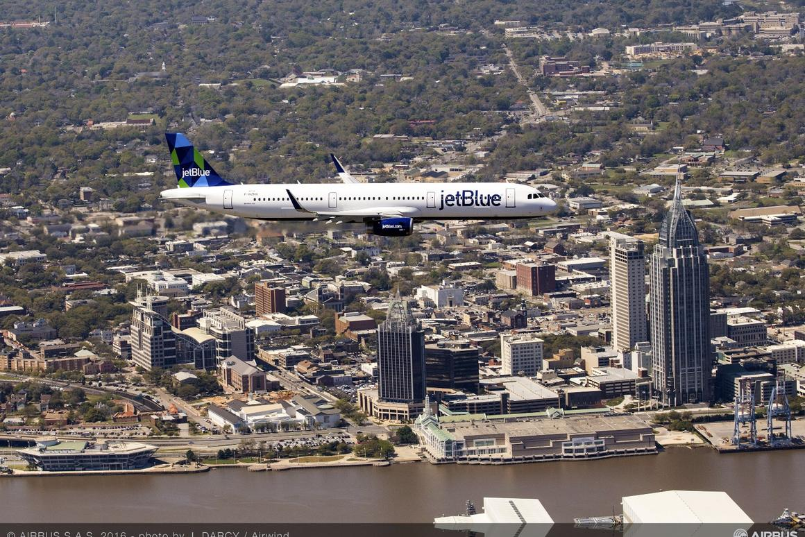 The first US-produced Airbus aircraft on its maiden flight over Mobile, Alabama