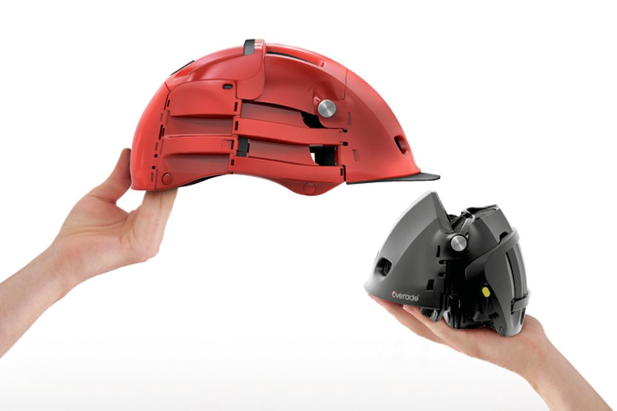 The overade bike helmet folds down to a compact size for when it's not protecting your skull
