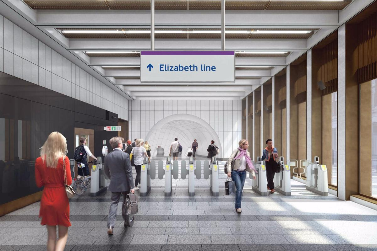 The proposed ticket hall at Bond Street station on Hanover Square