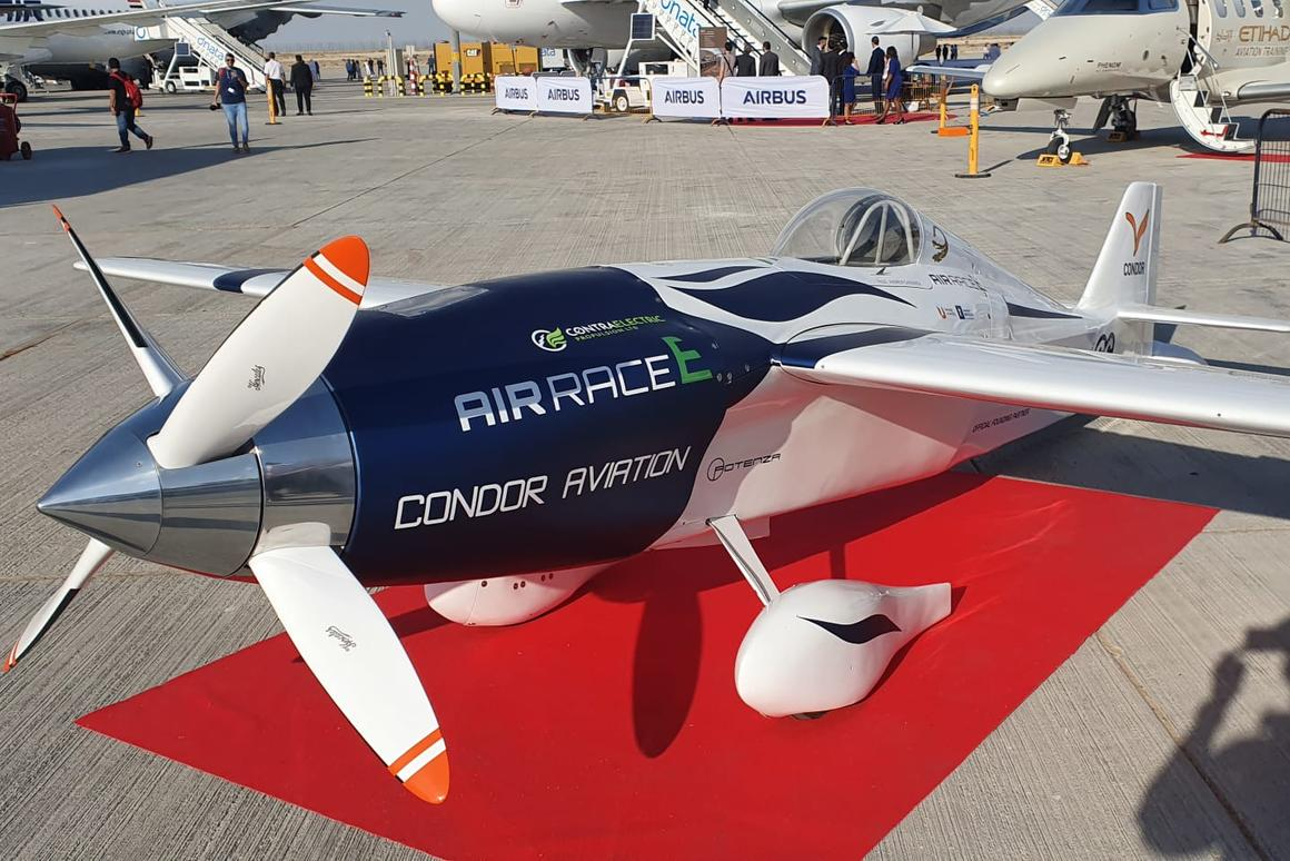 The first all-electric racer from Air Race E, the White Lightning built by Team Condor