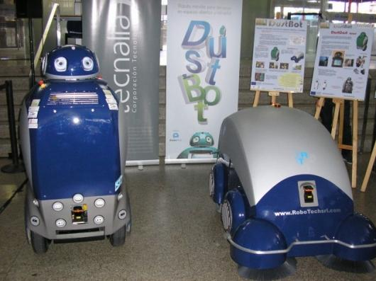 The DustCart is a humanoid robot for door-to-door garbage pickup, while the DustClean is meant for use in cleaning narrow town streets that traditional trucks can't access.