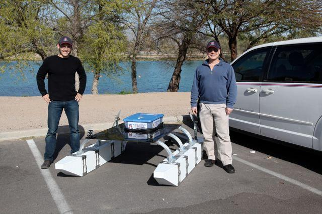 Wolfgang Fink (right) and his grad student Alex Jacobs prepare to launch TEX II for a series of tests on a lake (Photo: Wolfgang Fink/ECE/University of Arizona College of Engineering)