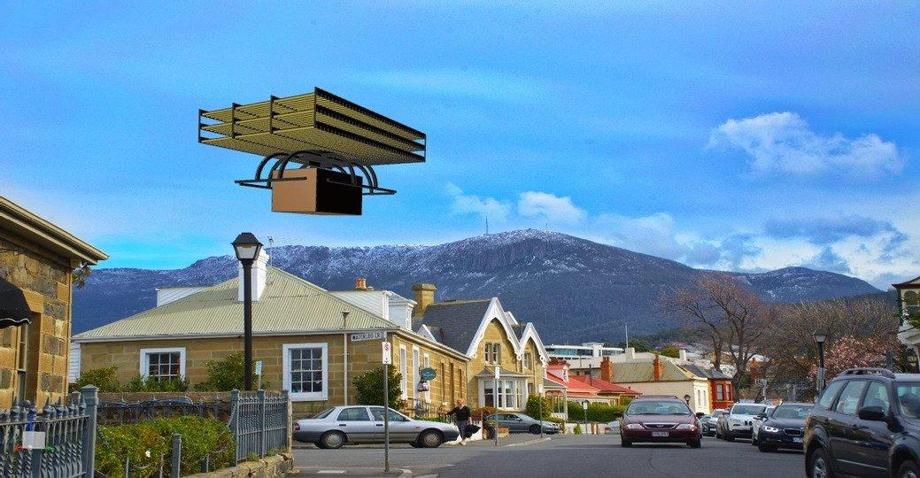 This flying pallet design shows what ion-propelled delivery drones might look like, flying near-silently through urban areas with no moving parts