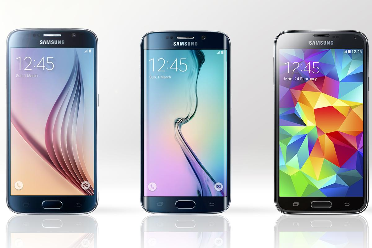 Gizmag compares the features and specs of the new Samsung Galaxy S6 (far left) and Galaxy S6 edge (middle) vs. last year's Galaxy S5